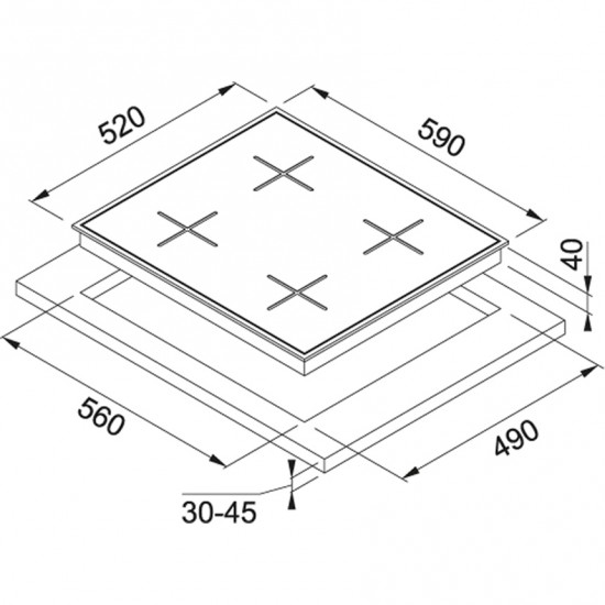 Franke New Square FHNS 604 4G WH C White glass Cam Ocak