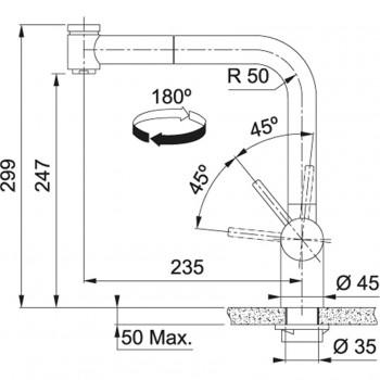 Franke Atlas Neo Duşlama özellikli spiralli Paslanmaz Çelik Armatür