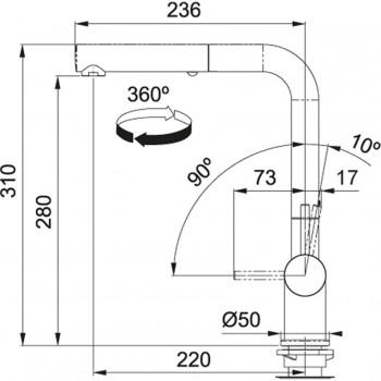 Franke Active Plus Duşlama özellikli spiralli Bronze armatür