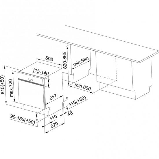 Franke Bulaşık Makinesi FDWS 712 A++ Yarı Ankastre Cristallo Nero