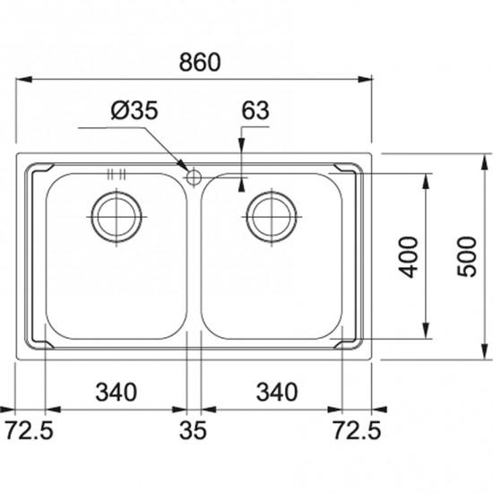Franke Logica Line LLX 620-L Paslanmaz Çelik 2 Gözlü Evye