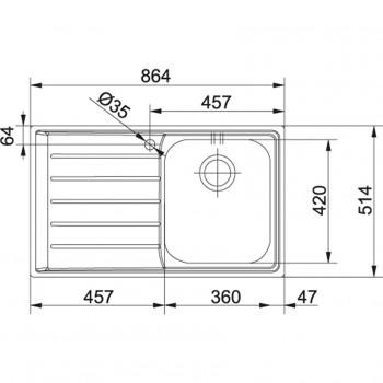 Franke Neptun Slimtop NEX 211 Paslanmaz Çelik Sağ Damlalıklı  Evye